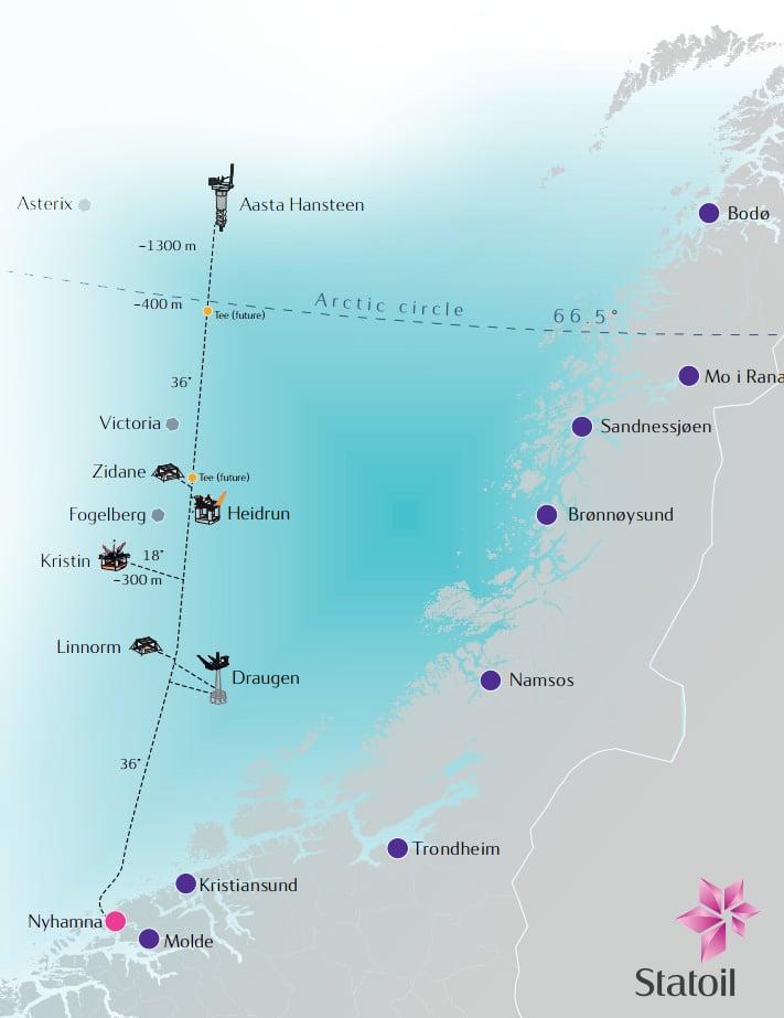 Map Statoil Polarled project